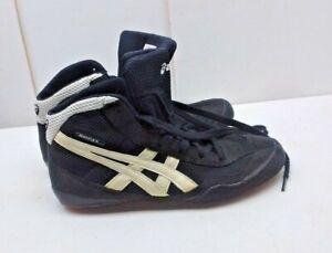 ASICS Black Silver Synthetic Hi Athletic Sneaker Training Youth Boy Shoe 5.5M 37