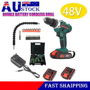 48V 2 Batteries Cordless Drill Kit LED Electric Drill Hammer Driver Repair Fast