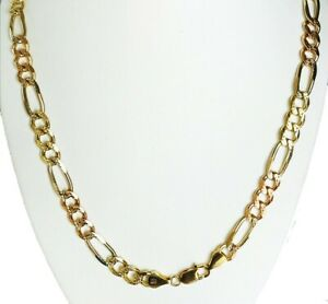 """8.50mm 22"""" 59.30gm 14k Solid Gold Tri Color Men's Heavy Figaro Chain Necklace"""