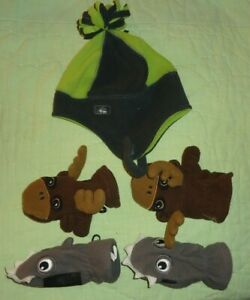 Lot of 5 pcs*Children's Place Mittens Size Large 2-4T*Gray Shark*Brown Moose*HAT