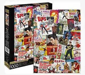 1000 piece Retro ELVIS PRESLEY - MOVIE POSTER Collage Puzzle Licensed AQUARIUS