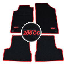 4 TAPIS SOL PEUGEOT 206CC ROXY QUICKSILVER SOL MOQUETTE LOGO ROUGE SUR MESURE