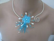 Collier Bleu Turquoise/Blanc pr robe de Mariée/Mariage/Soirée/Cérémonie perles