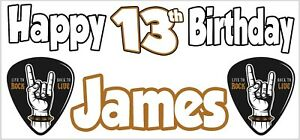 Rock Metal 13th Birthday Banner X2 Party Decorations Teenager Boy Girls ANY NAME