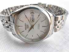 VINTAGE SS SEIKO 5 SEE THROUGH SILVER DIAL AUTOMATIC GENTS WRISTWATCH