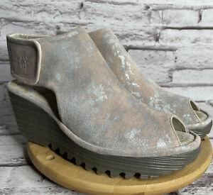 FLY LONDON Yone Sandals Size 6.5 -7 Women's Corcuma Rose Wedge Ankle Strap Eu 37