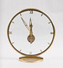 Jaeger LeCoultre Swiss desk clock with inline skeleton Baguette movement @ 1960s