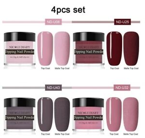 4pcs Dipping Nail Powder Polish Set Dust Nude Pink Dark Red