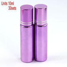 30 Pcs Small 10ML Empty Perfume Roll on Roller Metal Ball Glass Bottle& Purple