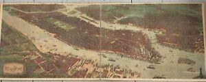 New York/Manhattan - Huge wall-map, double-sheet lithograph, Josef Klemm, 1908