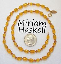 Vtg Signed MIRIAM HASKELL Honey Amber Art Glass & Crystal Strand Necklace, 21""