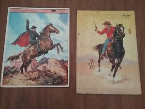 2 Vtg Frame Tray lg. piece Puzzles Whitman 1965 Zorro & Fairchild Pony Express