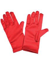 Red Satin Kids Gloves School Fancy Dress Accessory Christmas Xmas Girls Boys