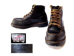 Vintage 1994 RED WING Classic Black Moc-toe BOOTS Vibram Lug Sole Size UK 7 EU40