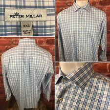 Peter Millar Mens Blue Plaid Cotton Blend Button Long Sleeve Shirt 2XL (wsh)