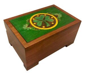 Celtic Shamrock Chest Box Polish Handmade Wood Celtic Lucky Charm Keepsake