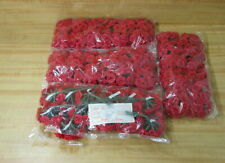"""Wholesale Crafts Lot of 576 Red 3/4"""" Artificial Satin Ribbon Roses On Wire Stem"""