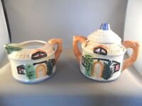 "ANTIQUE ""COTTAGE"" DESIGN SUGAR BOWL & CREAMER MADE IN JAPAN"