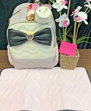 NEW! BETSEY JOHNSON DIAPER BAG BACKPACK WEEKENDER LUGGAGE WITH BOW & PAD