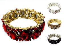 Women's Marquise Crystal Rhinestone Teardrop Accented Stretch Evening Bracelet