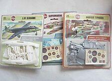 3 Vintage Airfix Miniature Wwii Airplane Models Seahawk Hawker Typhoon Spitfire