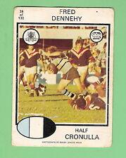 1975 CRONULLA SHARKS  SCANLENS RUGBY LEAGUE CARD  #26. FRED DENNEHY