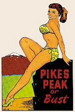 Pikes Peak, CO Pin-Up  Vintage-50's Style  Travel Decal