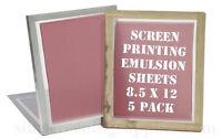"Emulsion Sheets - 5 Pack 8.5""x12"" Screen Printing"