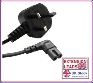 Samsung LED 4k UHD Flat Screen TV Mains Angled Power Lead Cable Long Black