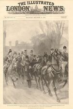 1896 antica stampa-blenhiem-Royal Party-ESCORT di Oxfordshire CAVALLO CAVALLERIA