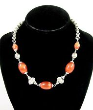 Thermoset ORANGE Plastic BEAD NECKLACE Silvertone Oblong MOONGLOW  Vintage 20""