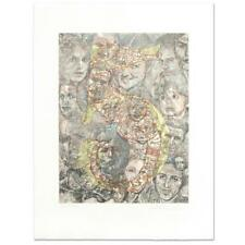 """Guillaume Azoulay """"Five"""" Limited Edition Hand Colored Etching signed with COA"""