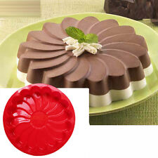 "9"" Large Flower Round Bread Silicone Cake Pan Bakeware Tray Pizza Liner Mold"