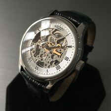Mens Rotary Watch Automatic GS02518/06 Steel skeleton black leather Genuine