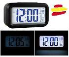 Reloreloj despertador digital LCD sensor de luz alarma barato negro mesita noche