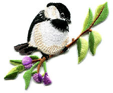 Bird - Chickadee - Flowers - Spring - Embroidered Iron On Applique Patch - R