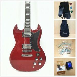 Haze 275TR  Solid Body Electric Guitar, H-H, Dark Red+Free Gig Bag,Extra Strings