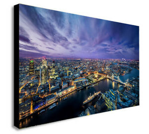 LONDON SKYLINE THAMES AT NIGHT  Canvas Wall Art Framed Print. Various Sizes