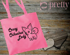 CRAZY CHIHUAHUA LADY PINK TOTE BAG CANVAS GIFT KEEPSAKE NOVELTY JOKE DOG