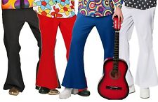 Mens 1960s 1970s Hippy Disco Flares Pants Trousers Fancy Dress Costume Outfit
