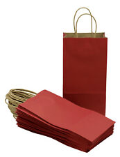 """Small Paper Gift Handle Bags, 5.25"""" x 3"""" x 8.5"""" Size, Deep Red, 24 Piece Pack"""