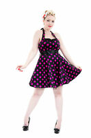Purple Pink Polka Dot Flared 50's Vintage Style Mini Party Prom Dress New 8 - 16