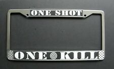 One Shot One Kill Chrome Plated License Plate Frame 6.25 x 12.25 inches