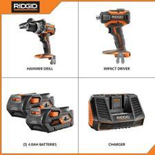 Ridgid 18V Brushless Hammer Drill Impact Driver Kit, Batt., Charger - R9205