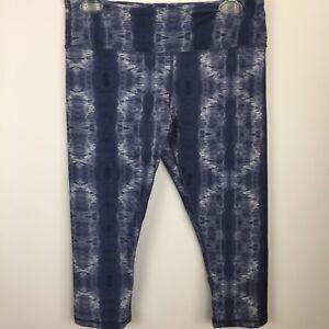 SCORPIO SOL Womens Sz Medium Yoga Capri Running Pant Tie Dye Blue White