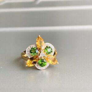 Estate 14K Solid Gold Diamond, Citrine, Emerald Multi Gemstone Cocktail Ring
