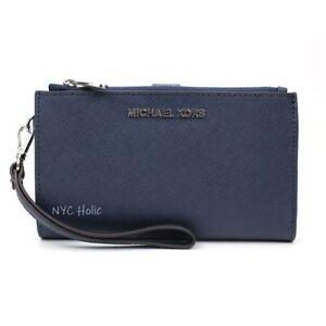 New Michael Kors Jet Set Double Zip Phone Wallet Wristlet