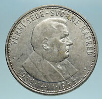 1944 SLOVAKIA REPUBLIC Jozef Tiso Genuine Silver 50 Korun Slovakian Coin i83467