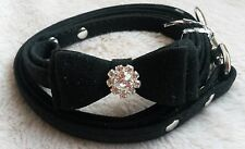 Elegant Black Soft Small  Dog Collar & Lead with Diamante effect Stone in Bow