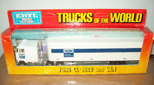 """ERTL #1452 """"TRUCKS OF THE WORLD"""" FORD CL-9000 & VAN, VGC WITH BOX"""